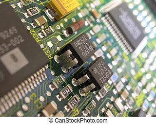 Close up macro of Printed circuit board.