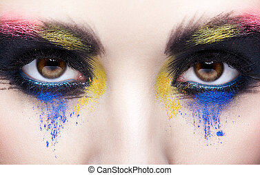 Female eye with unusual artistic painting makeup
