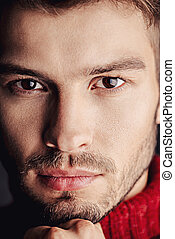 close-up male eyes