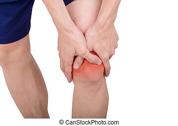 Close up male knee pain isolated white background.