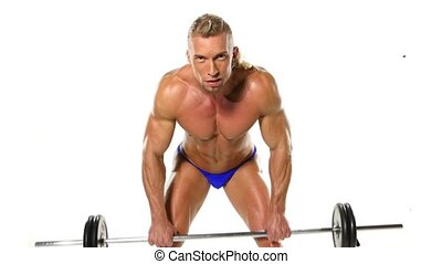 Close up Man Doing Exercise For Back With Barbell. Man Doing Heavy Weight Exercise For white