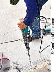 close-up Man drilling ground
