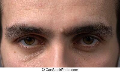 Close-up man eyes looking