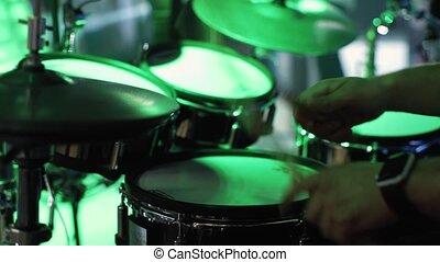 Close up Man playing drums