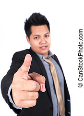 Close up man pointing a finger towards you