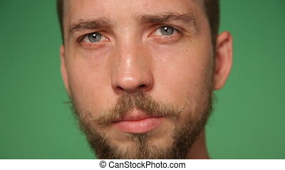 man's face with trendy beard and mustache - Close up man's...