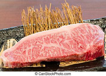 Close up marbled on fresh Japanese Kobe Matsusaka beef -...