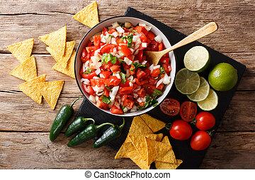 close-up, mexicano, topo, de, aperitivo, pico, bowl., horizontais, gallo, vista