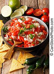 close-up, mexicano, vertical, de, tigela, pico, nachos., gallo