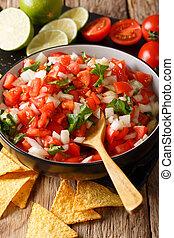 close-up, mexicano, vertical, pico, de, bowl., food:, gallo