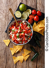 close-up, mexicano, vertical, topo, de, aperitivo, pico, bowl., gallo, vista