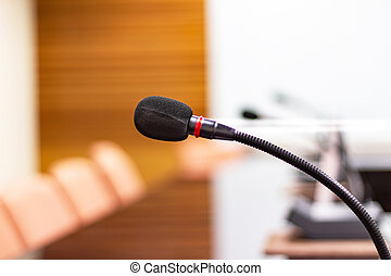 close up microphone in the conference room