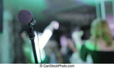 Close-up microphone, karaoke, dancing