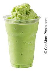 Milk Green tea smoothie - Close up Milk Green tea smoothie...