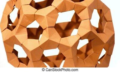 Close up modular origami ball. Modular origami cosmic body....