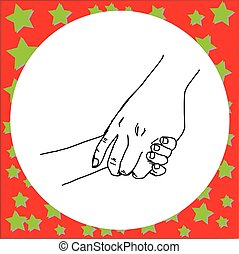 close-up mother holding a hand of her child vector illustration sketch hand drawn with black lines, isolated on white background. concept of love and family.