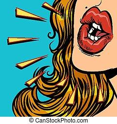 close-up mouth woman talk