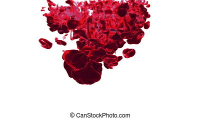 Close-up movement of red paint in water. Color drop in water ink swirling in water. Cloud of silky ink in water isolated on white background with alpha mask VFX. Version 20
