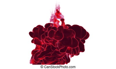 Close-up movement of red paint in water. Color drop in water ink swirling in water. Cloud of silky ink in water isolated on white background with alpha mask VFX. Version 6