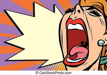 close-up, mulher, arte, raiva, estouro, rosto, gritando