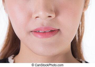 close-up, mulher asian, sorrindo, com, dentes brancos