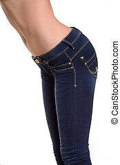 close-up, mulher, calças brim, isolado, jeans., branca,...