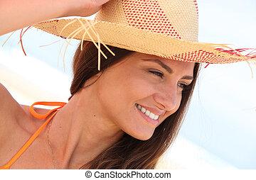 close-up, mulher, chapéu