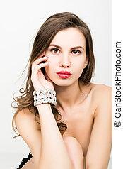 close-up, mulher, jóia, na moda, pulseira, elegante, excitado