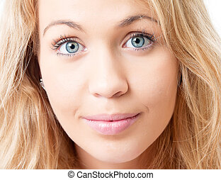 close-up., mulher, jovem, loura, rosto