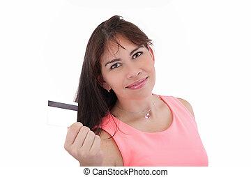 close-up, mulher segura, negócio, isolado, jovem, crédito, fundo, retrato, sorrindo, branca, cartão