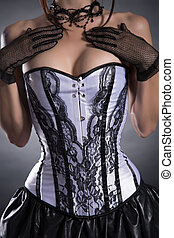 close-up, mulher, tiro, colete, busty, elegante, branca