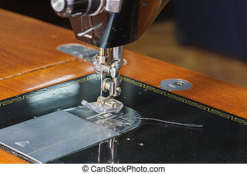 close-up needle of the sewing machine