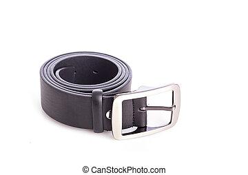 Close up new black belt isolated on white