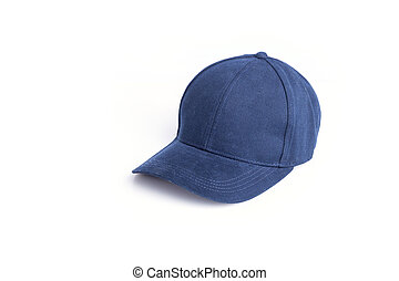 Close up new blue baseball hat isolated on white