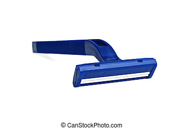 Close up new blue shaver on white background