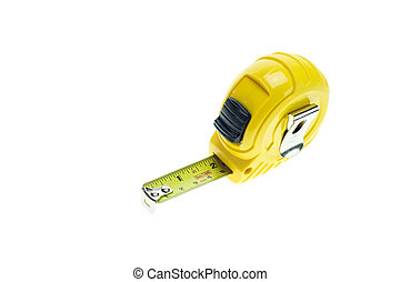 Close up new yellow measuring tape isolated on white