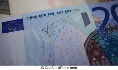 Close up of 20 EUR note, EU