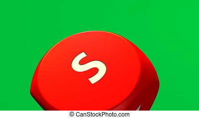Close-up of 3D rolling red dices