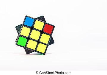 Close-up of 3x3 Rubik's cube on white background