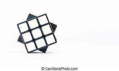 Close-up of 3x3 Rubik'sube on white background