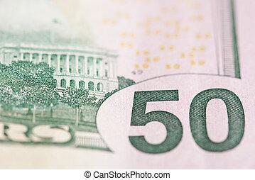 Close up of 50 dollar banknote