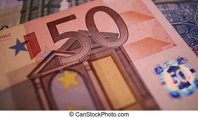 Close up of 50 EUR note, EU