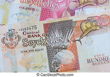 Close up of 500 and 100 Seychelles rupees banknotes