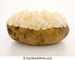 close up of a baked potato