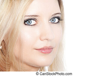 Close up of a beautiful blond haired woman