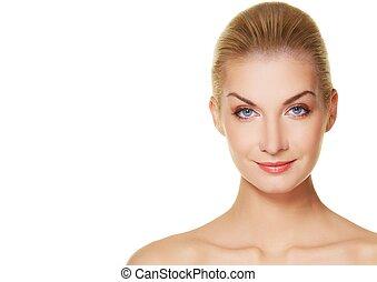 Close-up of a beautiful woman face