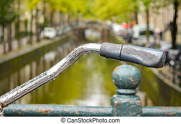 Close up of a bicycle handle in Amsterdam