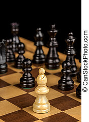 Close up of a Bishop on a chess board