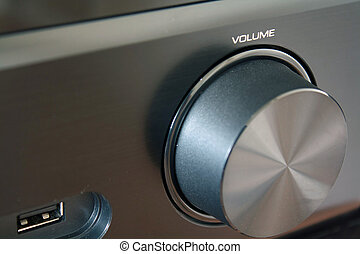 Close up of a black volume knob