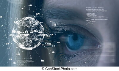 Close-up of a blue eyes looking at a digital turning earth globe surround of time differences